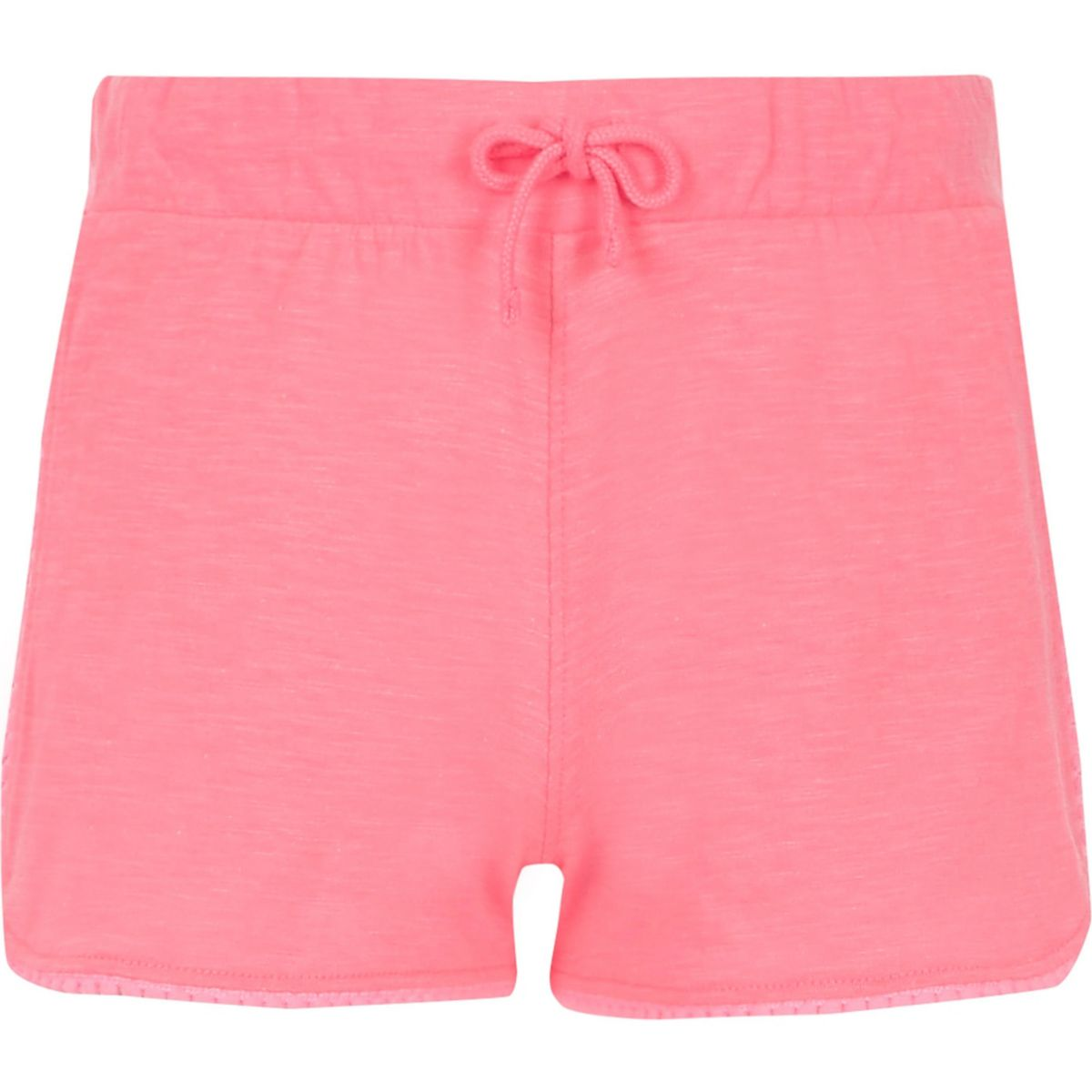 Girls pink fluro lace trim shorts
