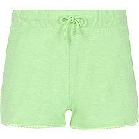 Girls green lace trim shorts