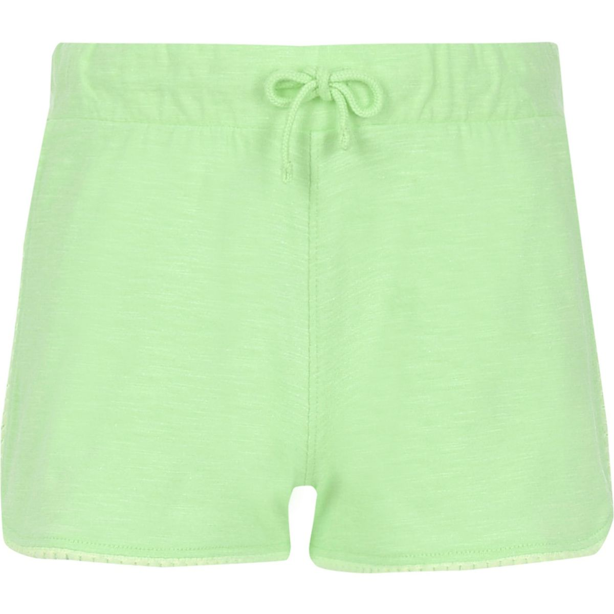 Girls green lace trim shorts