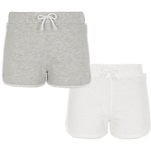 Lots de shorts de course, gris et blanc, fille