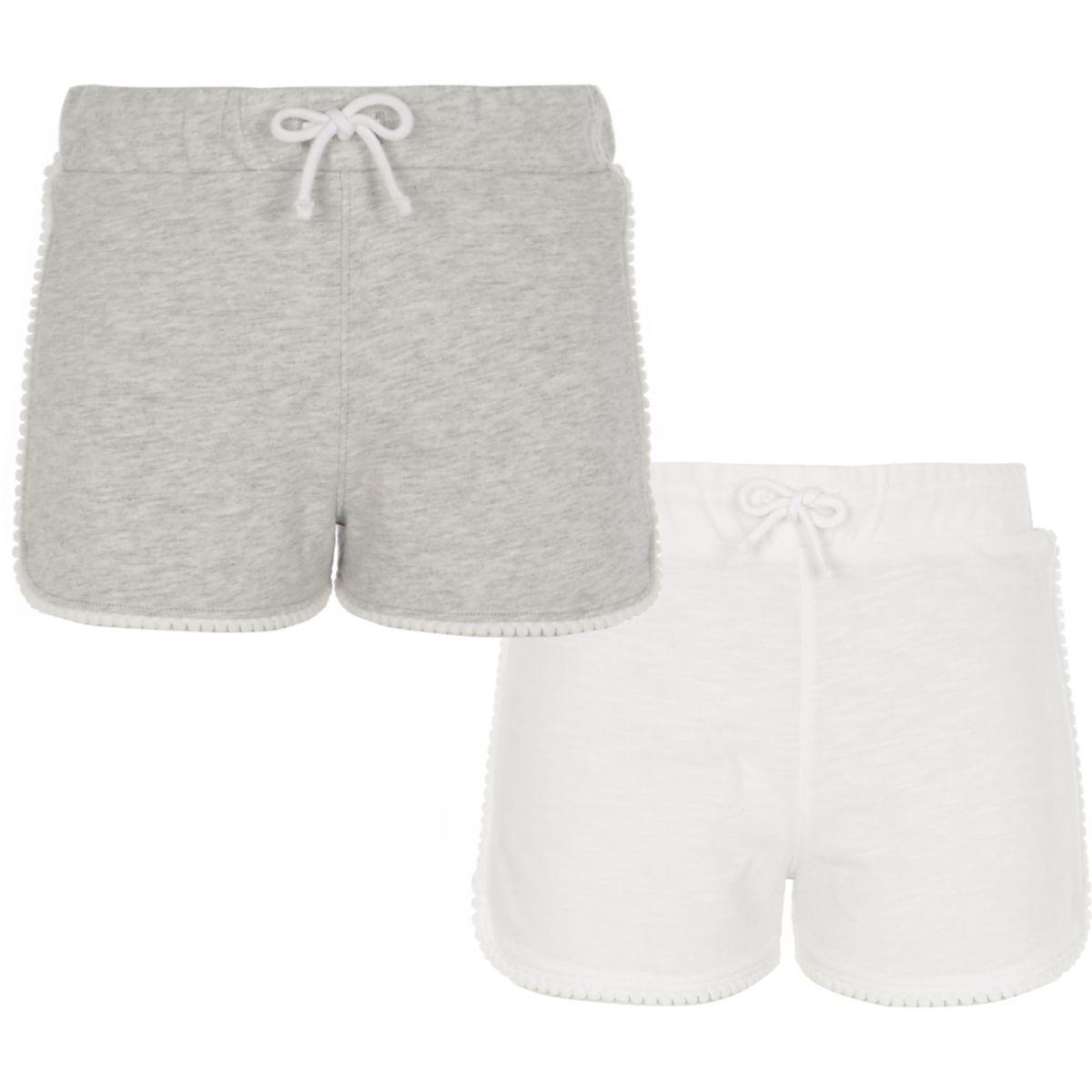 Lots de shorts de course, gris et blanc, fille