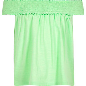 Girls green bardot swing top