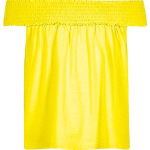 Top Bardot trapèze jaune à fronces pour fille