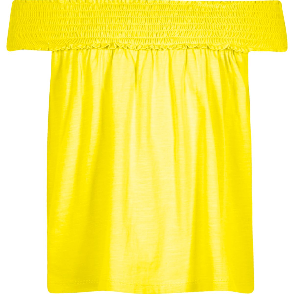 Girls yellow shirred bardot swing top