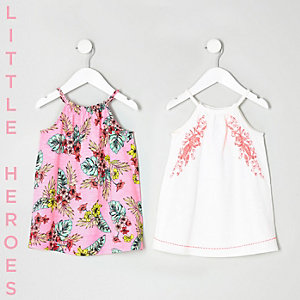 Mini girls leaf print trapeze dress two pack