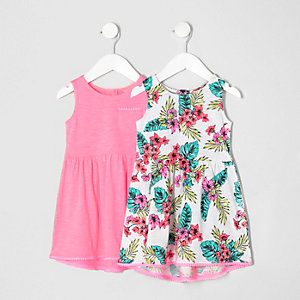 Mini girls pink tropical dress multipack