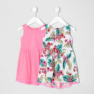 Lot de robes imprimé tropical rose pour mini fille
