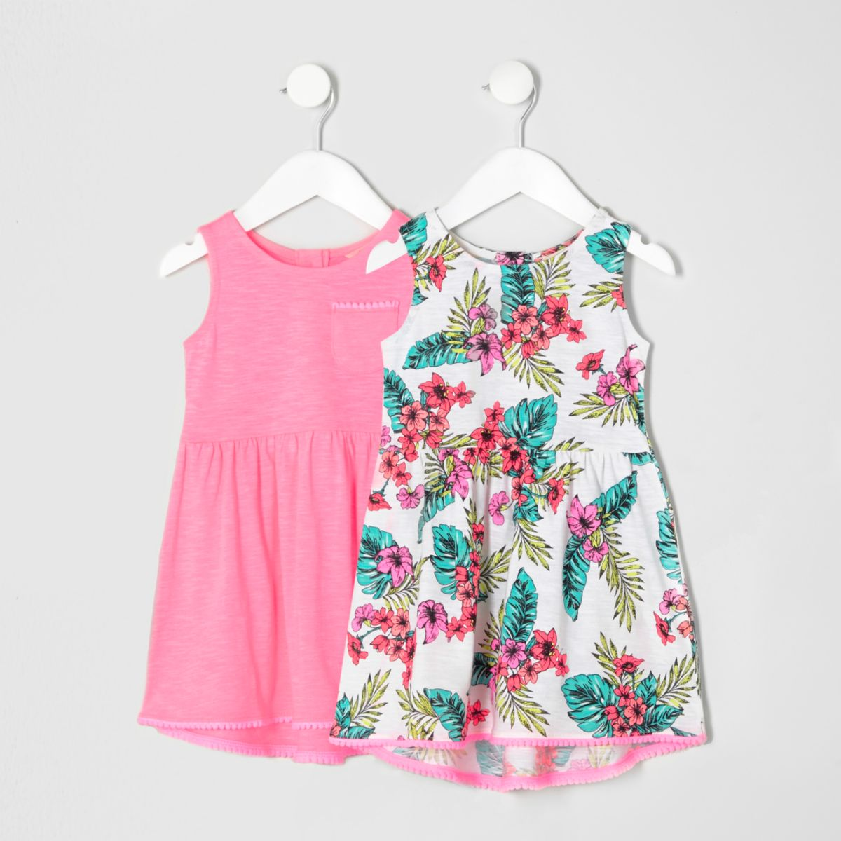 Mini girls pink tropical dress multipack