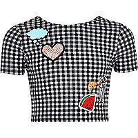 Girls black gingham badge crop top