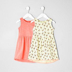 Mini - Set van twee jurkjes met langere achterkant en flamingo's voor meisjes