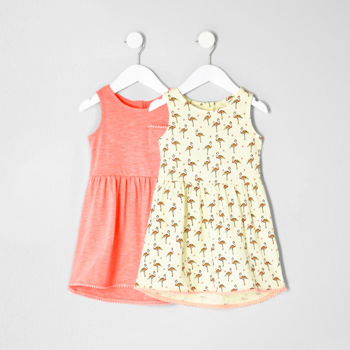 Mini girls flamingo high-low dress two pack