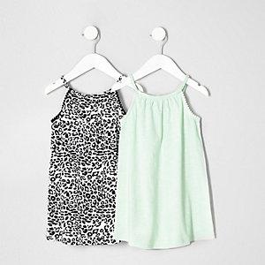 Lot de robes léopard et blanche mini fille