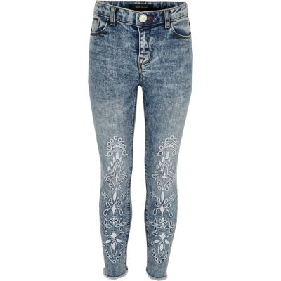 Amelie Blauwe acid wash jeans met borduursel voor meisjes