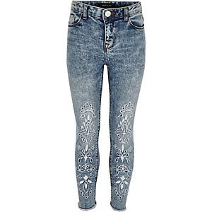 Girls blue acid wash Amelie embroidered jeans