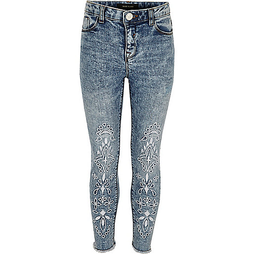 Girls blue acid wash Amelie embroidered jeans