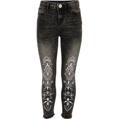 Amelie Zwarte geborduurde jeans voor meisjes
