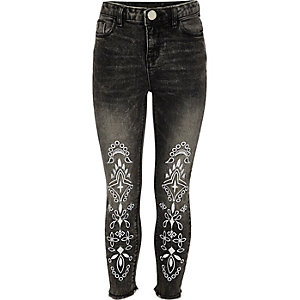 Girls black Amelie embroidered jeans