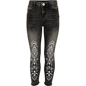 Girls black Amelie embroidered jeans