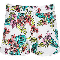Girls white tropical print pom pom shorts