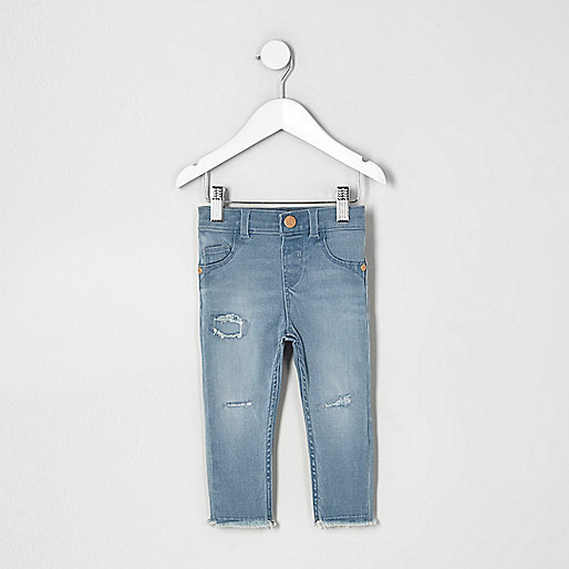 Mini girls blue Molly ripped skinny jeans