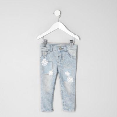 Mini Amelie acid wash gehaakte jeans voor meisjes