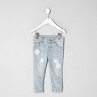 Mini girls acid wash crochet Amelie jeans