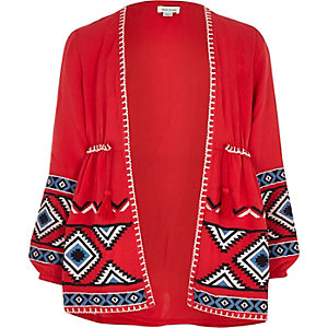 Girls red aztec embroidered kimono