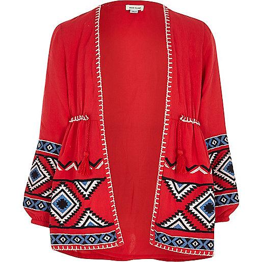 Girls red aztec embroidered kimono