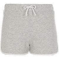 Girls grey crochet trim jersey shorts