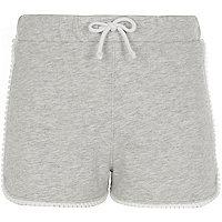 Girls grey crochet trim jersey shorts