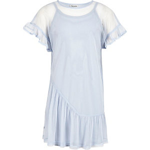 Girls blue mesh frill T-shirt dress
