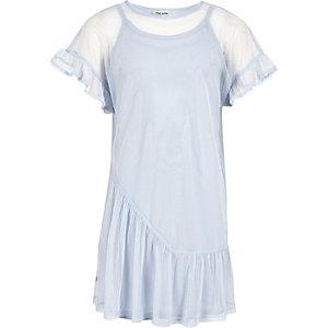 Robe t-shirt en tulle bleue à volants pour fille