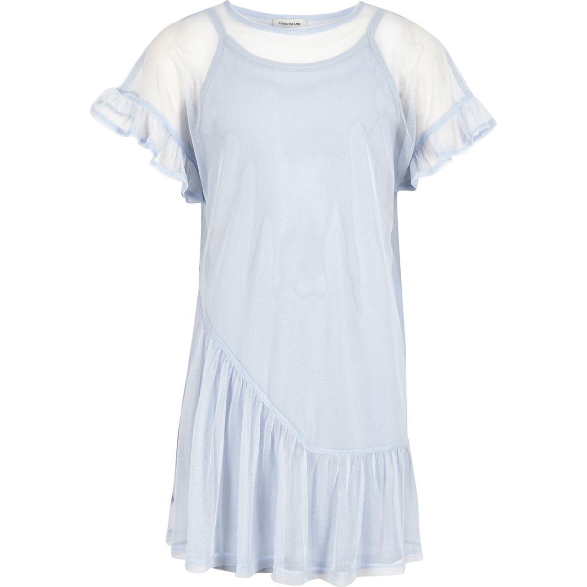 Girls blue mesh frill T-shirt dress