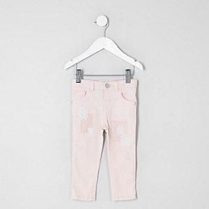 Mini - Amelie roze jeans met haakwerk voor meisjes