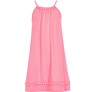 Girls pink pom pom trapeze dress
