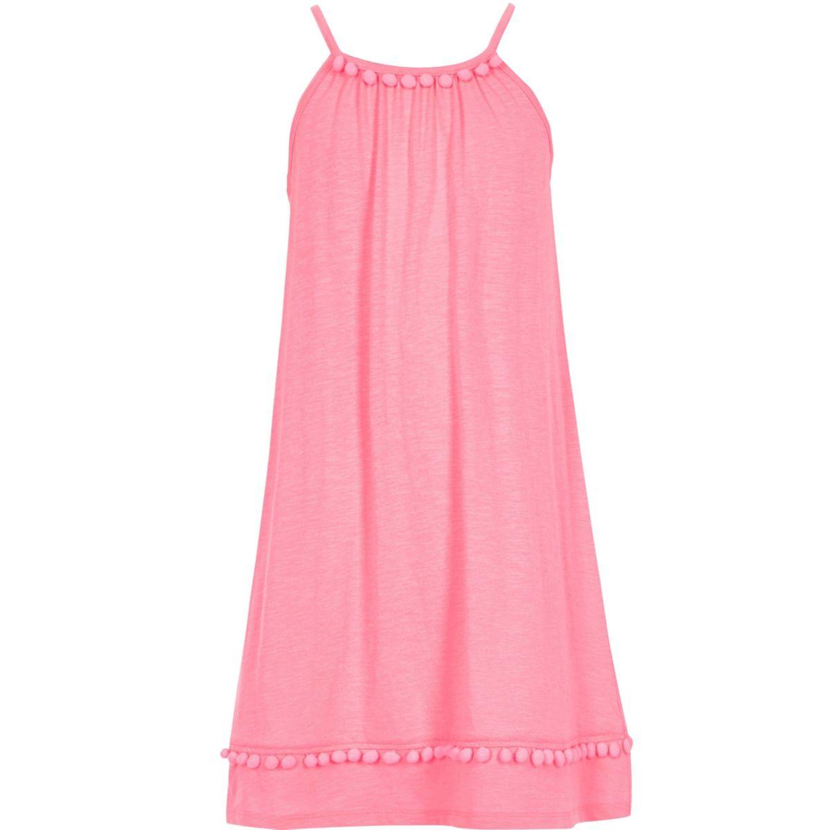 Girls pink pom pom trapeze dress