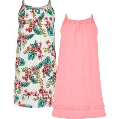 River Island Multipack roze A-lijnjurken met pompon voor meisjes