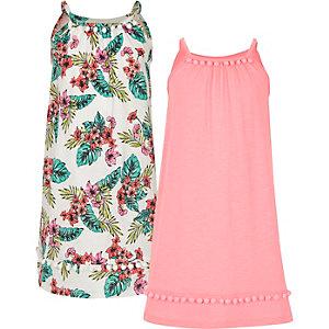 Pinkes Trapez-Kleid mit Pompons im Multipack