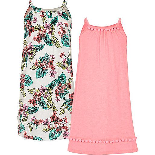 Girls pink pom pom trapeze dress multipack