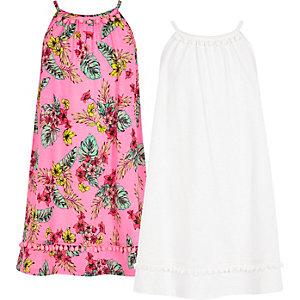 Rosa Kleid mit Bommelsaum im Multipack