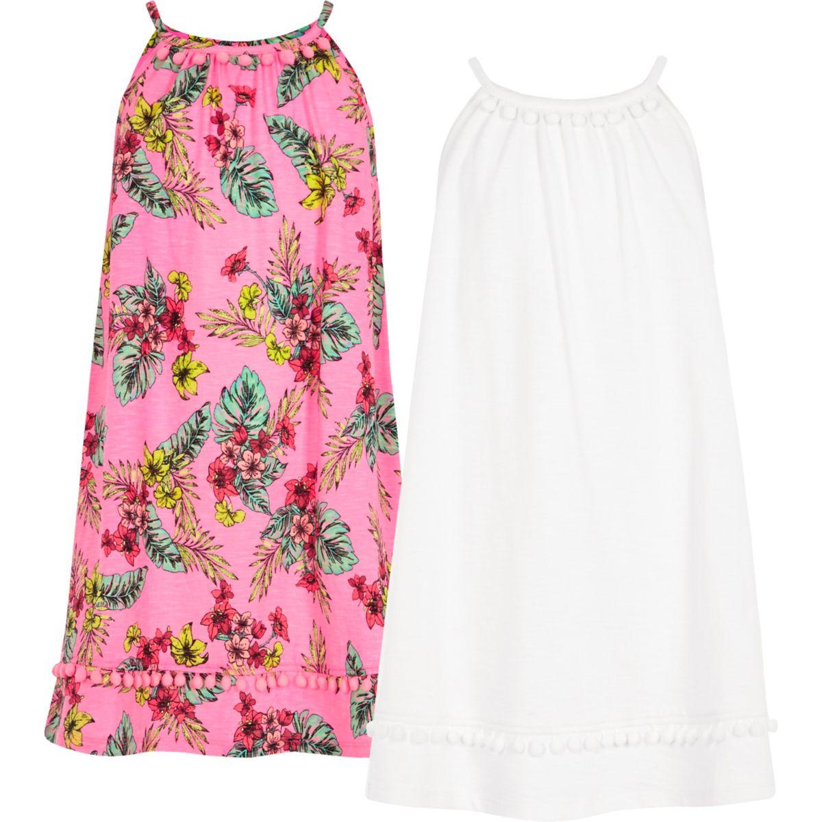 Girls pink pom pom hem dress multipack
