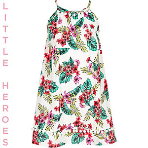 Girls white tropical print pom pom hem dress
