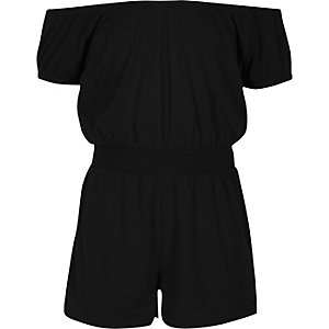 Girls black shirred bardot romper