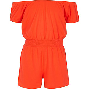 Girls coral shirred bardot playsuit