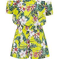 Girls yellow tropical print bardot romper
