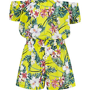 Girls yellow tropical print bardot romper