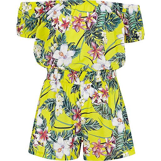 Girls yellow tropical print bardot playsuit