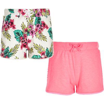 Multipack roze shorts met tropische print voor meisjes