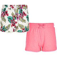 Girls pink tropical print shorts multipack