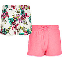 Girls pink tropical print shorts multipack